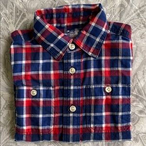 Red, white and blue long sleeve button up for boys